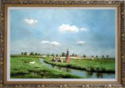 A Creek Passing Meadow Oil Painting Landscape River Classic Ornate Antique Dark Gold Wood Frame 30 x 42 inches