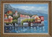 Mediterranean Coast Harbor Village of Italy Oil Painting Naturalism Exquisite Gold Wood Frame 30 x 42 inches