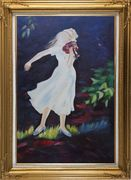 Girl Plays Violin in the Garden Oil Painting Portraits Woman Musician Impressionism Gold Wood Frame with Deco Corners 43 x 31 inches