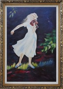 Girl Plays Violin in the Garden Oil Painting Portraits Woman Musician Impressionism Ornate Antique Dark Gold Wood Frame 42 x 30 inches