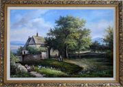 Rural Village Scenery Oil Painting Classic Ornate Antique Dark Gold Wood Frame 30 x 42 inches