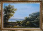 Goats and Shepherd Relaxing in Green Field Oil Painting Landscape River Classic Exquisite Gold Wood Frame 30 x 42 inches