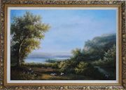 Goats and Shepherd Relaxing in Green Field Oil Painting Landscape River Classic Ornate Antique Dark Gold Wood Frame 30 x 42 inches