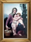 The Holy Family, William Bouguereau Masterpiece Oil Painting Portraits Woman Child Religion Classic Gold Wood Frame with Deco Corners 43 x 31 inches
