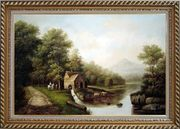 Intimate Talk Oil Painting Landscape River Classic Exquisite Gold Wood Frame 30 x 42 inches