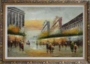 Pedestrian Walking on Paris Street Oil Painting Cityscape France Impressionism Ornate Antique Dark Gold Wood Frame 30 x 42 inches