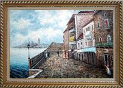 People Strolling On Venice Sidewalk Oil Painting Italy Naturalism Exquisite Gold Wood Frame 30 x 42 inches