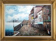 People Strolling On Venice Sidewalk Oil Painting Italy Naturalism Gold Wood Frame with Deco Corners 31 x 43 inches