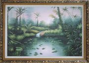 Spring Colorful Waterlilies In Pond Oil Painting Landscape River Naturalism Ornate Antique Dark Gold Wood Frame 30 x 42 inches