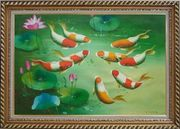 Nine Colorful Fishes Play around Pink Waterlilies Oil Painting Animal Marine Life Asian Exquisite Gold Wood Frame 30 x 42 inches