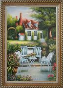 Chairs, Table and Flowers on Back Yard of Elegant Red-Roof House Oil Painting Garden Classic Exquisite Gold Wood Frame 42 x 30 inches