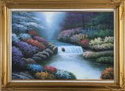 Water Stream Along Beautiful and Colorful Forest Oil Painting Landscape River Naturalism Gold Wood Frame with Deco Corners 31 x 43 inches