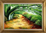 Green Trail Under Old Tree Oil Painting Landscape Spring Naturalism Gold Wood Frame with Deco Corners 31 x 43 inches