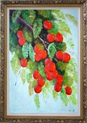 Tree with Red Fruit at Harvest time Oil Painting Naturalism Ornate Antique Dark Gold Wood Frame 42 x 30 inches