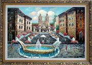 Spring at the Public Square Oil Painting Cityscape Naturalism Ornate Antique Dark Gold Wood Frame 30 x 42 inches