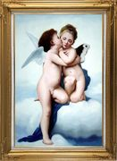 Cupid and Psyche Oil Painting Portraits Child Classic Gold Wood Frame with Deco Corners 43 x 31 inches