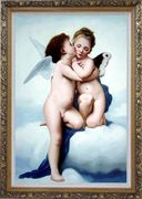 Cupid and Psyche Oil Painting Portraits Child Classic Ornate Antique Dark Gold Wood Frame 42 x 30 inches