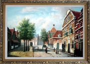 Dutch Village Street With Restful Atmosphere Oil Painting Classic Ornate Antique Dark Gold Wood Frame 30 x 42 inches