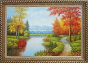 Gorgeous Riverside Scenery in Golden Autumn Oil Painting Landscape Tree Naturalism Exquisite Gold Wood Frame 30 x 42 inches