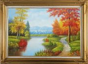 Gorgeous Riverside Scenery in Golden Autumn Oil Painting Landscape Tree Naturalism Gold Wood Frame with Deco Corners 31 x 43 inches