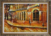 At the Hall Gate Oil Painting Cityscape Modern Ornate Antique Dark Gold Wood Frame 30 x 42 inches
