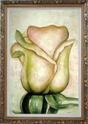 Yellow Rose Bud Oil Painting Flower Decorative Ornate Antique Dark Gold Wood Frame 42 x 30 inches