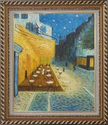 Cafe Terrace At Night, Van Gogh Masterpiece Oil Painting Cityscape France Post Impressionism Exquisite Gold Wood Frame 30 x 26 inches
