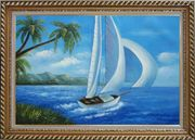 Sailing near Coast with Palm Trees Oil Painting Boat Boating Naturalism Exquisite Gold Wood Frame 30 x 42 inches