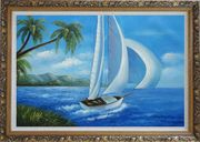 Sailing near Coast with Palm Trees Oil Painting Boat Boating Naturalism Ornate Antique Dark Gold Wood Frame 30 x 42 inches