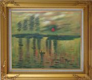 Impression Sunrise, Claude Monet Reproduction Oil Painting Seascape France Impressionism Gold Wood Frame with Deco Corners 27 x 31 inches