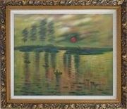Impression Sunrise, Claude Monet Reproduction Oil Painting Seascape France Impressionism Ornate Antique Dark Gold Wood Frame 26 x 30 inches