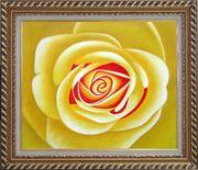 Yellow Rose Oil Painting Flower Naturalism Exquisite Gold Wood Frame 26 x 30 inches