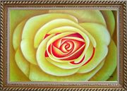 Yellow Rose Oil Painting Flower Naturalism Exquisite Gold Wood Frame 30 x 42 inches