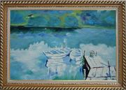 Two Small White Boats on the Deck Oil Painting Impressionism Exquisite Gold Wood Frame 30 x 42 inches