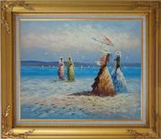Girls, Seagulls and Beach Oil Painting Portraits Woman Impressionism Gold Wood Frame with Deco Corners 27 x 31 inches