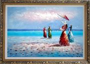 Girls, Seagulls and Beach Oil Painting Portraits Woman Impressionism Ornate Antique Dark Gold Wood Frame 30 x 42 inches