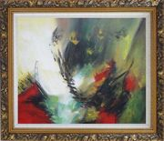 Rapid Rhythm Oil Painting Nonobjective Decorative Ornate Antique Dark Gold Wood Frame 26 x 30 inches