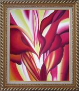 Spark, Abstract Floral Oil Painting Flower Modern Exquisite Gold Wood Frame 30 x 26 inches