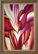 Red Canna, Georgia O'Keeffe's Reproduction Oil Painting Flower Modern Exquisite Gold Wood Frame 42 x 30 inches