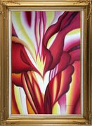 Red Canna, Georgia O'Keeffe's Reproduction Oil Painting Flower Modern Gold Wood Frame with Deco Corners 43 x 31 inches