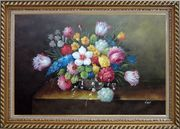 Still Life of Flowers Oil Painting Bouquet Classic Exquisite Gold Wood Frame 30 x 42 inches