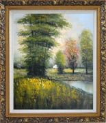 Small Pond Surround By Green Trees Oil Painting Landscape Impressionism Ornate Antique Dark Gold Wood Frame 30 x 26 inches