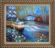 Flowers around River Bridge Oil Painting Landscape Impressionism Exquisite Gold Wood Frame 26 x 30 inches