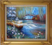 Flowers around River Bridge Oil Painting Landscape Impressionism Gold Wood Frame with Deco Corners 27 x 31 inches