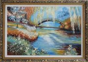 Flowers around River Bridge Oil Painting Landscape Impressionism Ornate Antique Dark Gold Wood Frame 30 x 42 inches