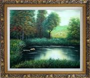Jumping Wild Pig Oil Painting Landscape River Classic Ornate Antique Dark Gold Wood Frame 26 x 30 inches
