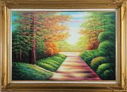 Secret Garden Path Oil Painting Landscape Tree Autumn Naturalism Gold Wood Frame with Deco Corners 31 x 43 inches
