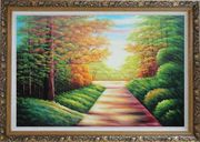 Secret Garden Path Oil Painting Landscape Tree Autumn Naturalism Ornate Antique Dark Gold Wood Frame 30 x 42 inches