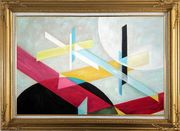 Suprematist Composition Oil Painting Nonobjective Modern Gold Wood Frame with Deco Corners 31 x 43 inches