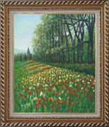 Gorgeous Colorful Flowery Fields in Spring Oil Painting Landscape Tulip Impressionism Exquisite Gold Wood Frame 30 x 26 inches